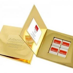 bombones chocolate en tarjeta
