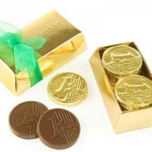 lingote con monedas de chocolate