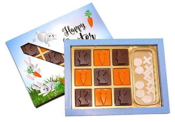 chocolatinas de Pascua con juego tic Tac Toe